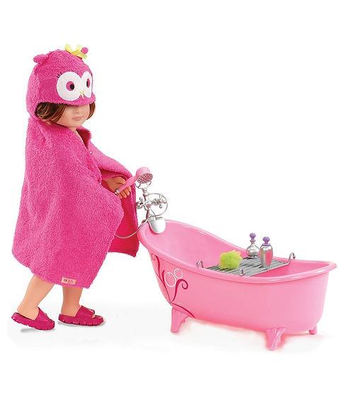 אמבטיה ורודה וסט אבזרים כולל חלוק ינשוף לבובה