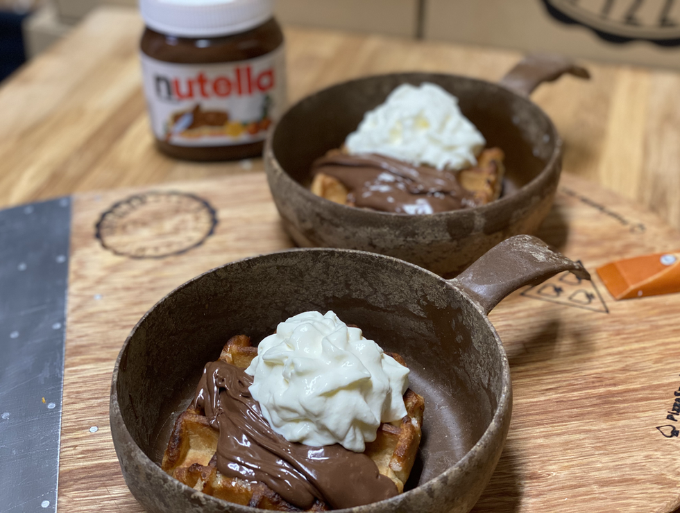 BELGIAN VANILLA WAFFLE WITH NUTELLA & WHIPPED CREAM