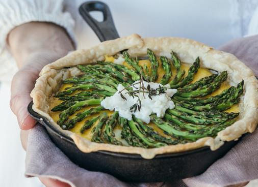 Recipe - Spring Onion, Asparagus & Ricotta Tart
