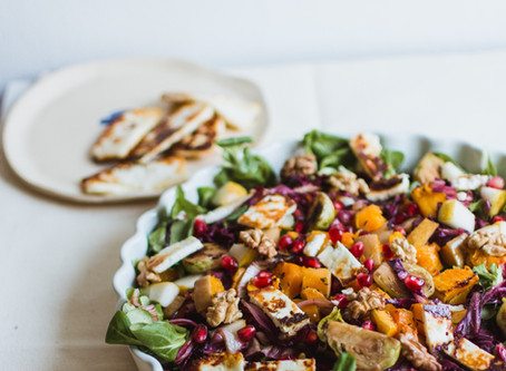 Recipe - Roasted Squash & Spelt Salad with Toasted Nuts, Goat's Curd and Honey