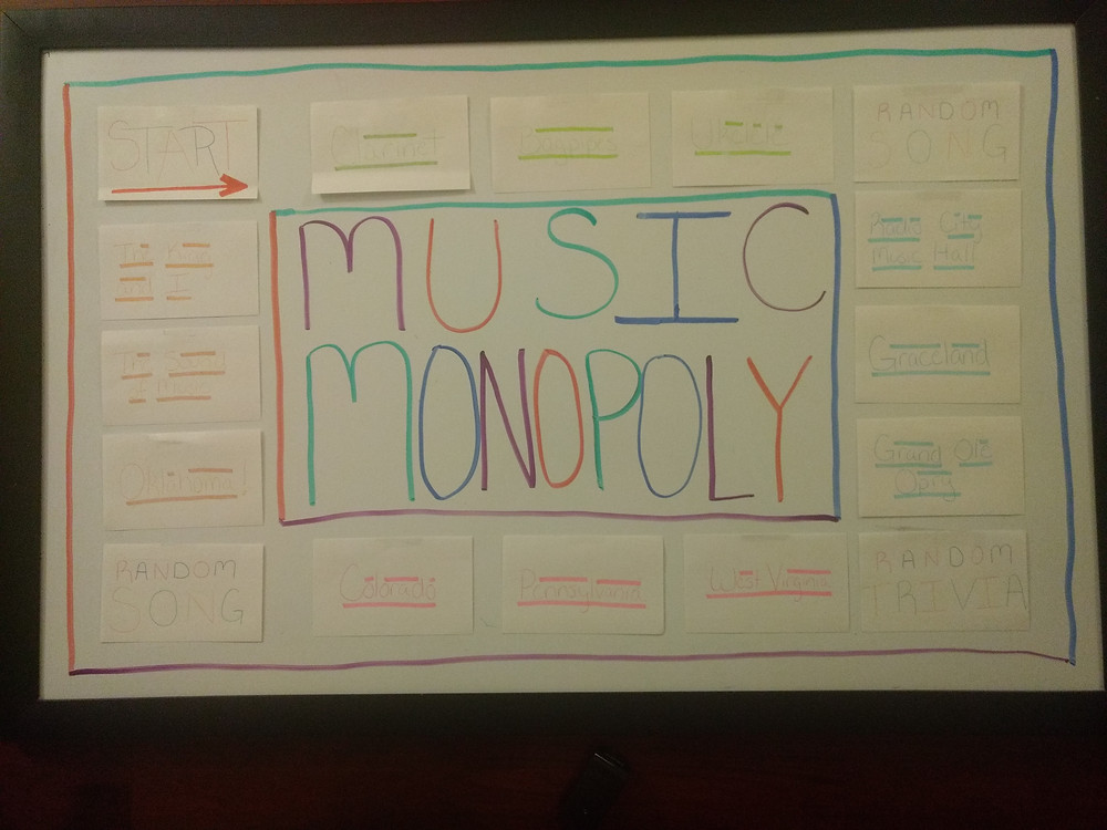 music monopoly gameboard
