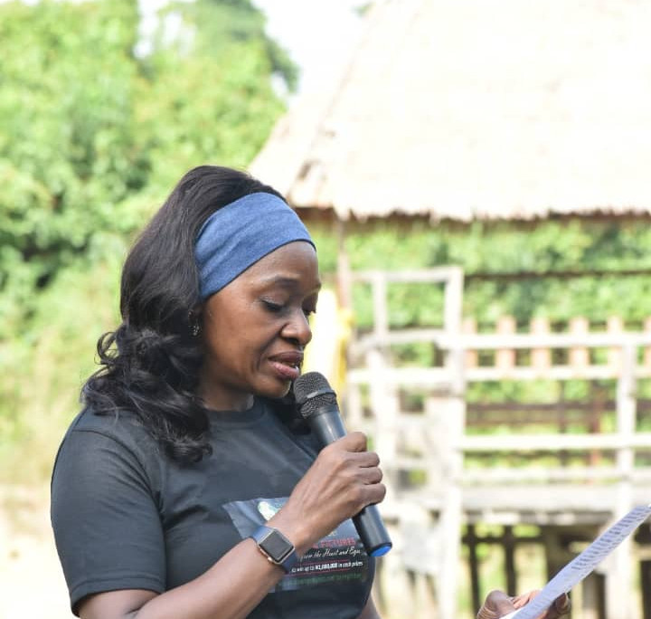Mrs. Angela Emuwa (Collaborator) announcing the guildelines for the competition.