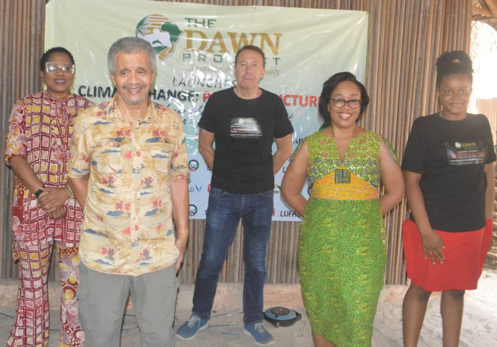 L-R: Dr. Fasawe (GM, LASEPA), Mr. Desmond Majekodunmi (Collaborator), Mr. Stanley Evans MBE (Collaborator), Dr.  Pamela Ajayi (Collaborator), Ada Udeh (Winner of Age 7-14 Category, The Dawn Project Poetry Competition 2020)
