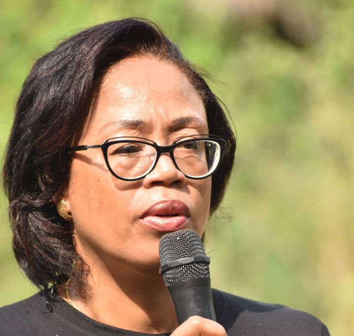 Dr. Pamela giving a speech at the Launch