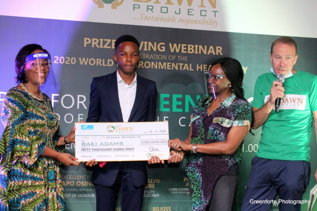 L-R: Dr. Pamela Ajayi (Collaborator), Baki Adams (Winner), Mrs. Angela Emuwa (Collaborator), Mr. Stanley Evans (Collaborator)