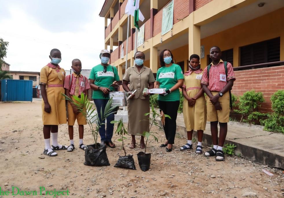 Tree planting in Opebi Junior and Senior Grammar School