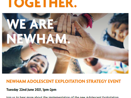Free event 22nd June 1-2pm to focus on adolescent exploitation.