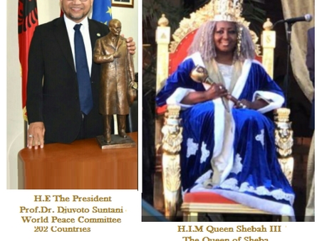 The Queen of Sheba Appointed Deputy-President of the World Peace Committee 202 Countries for the AU