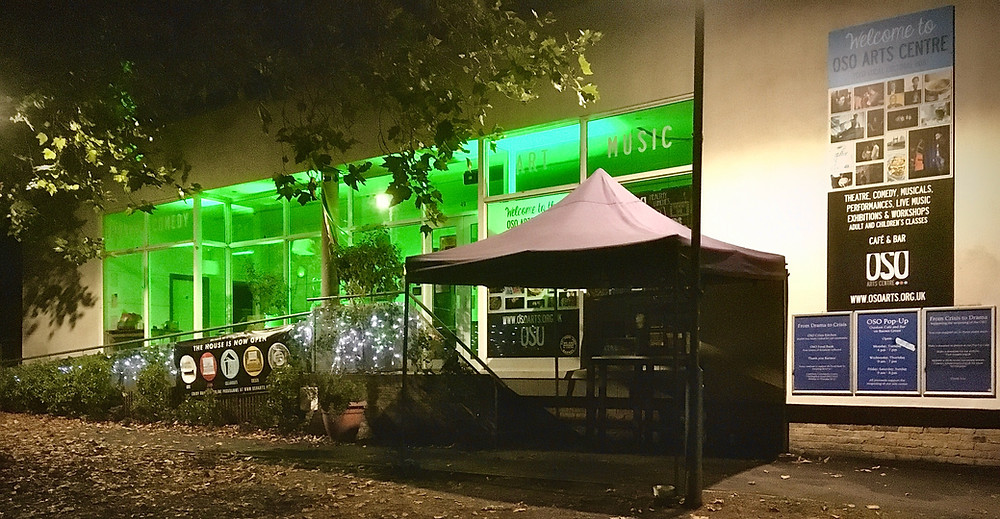 The OSO lit up green to celebrate the announcement that live theatre could resume.