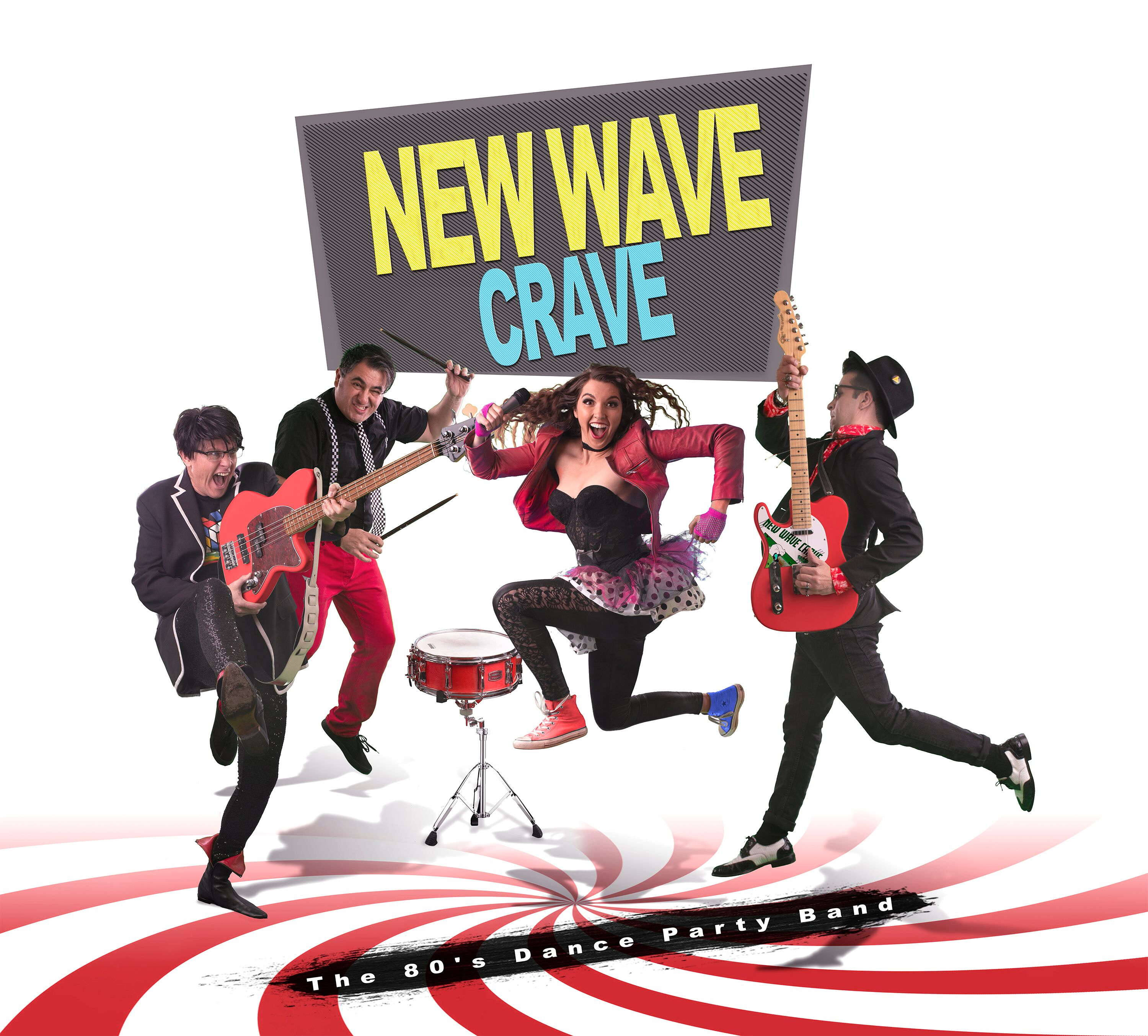 new wave crave band photo with swirl