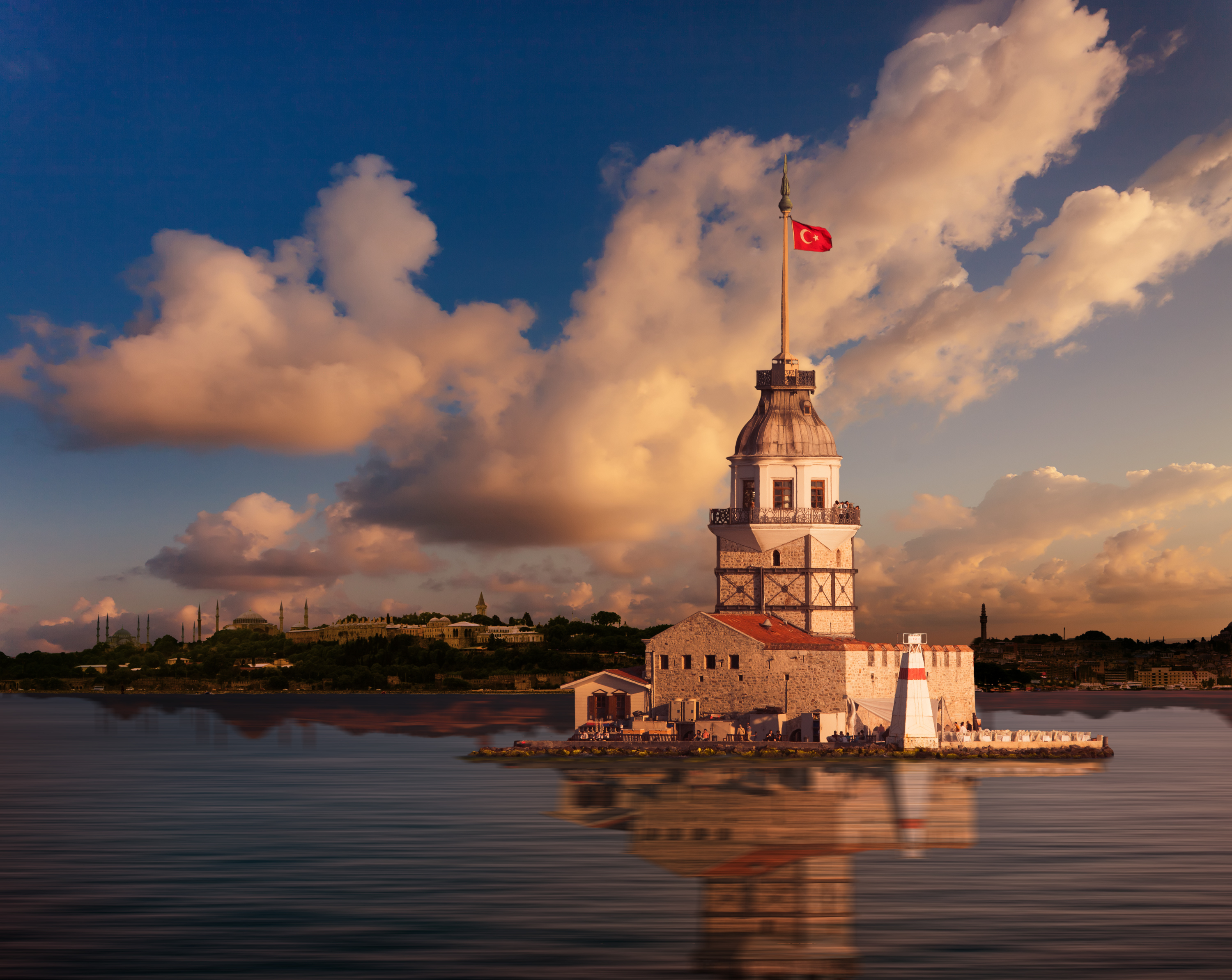 Maiden Tower and the Old City Silhouette in Istanbul Turkey.jpg