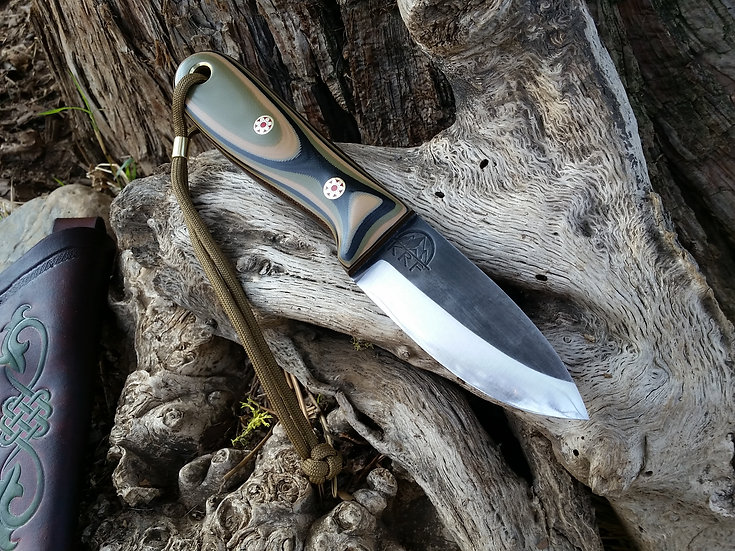KRF ESHOM XL Bushcraft Survival Knife MULTICAM/OD CANVAS/ MOSAICS