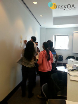 Agile class. Students working together