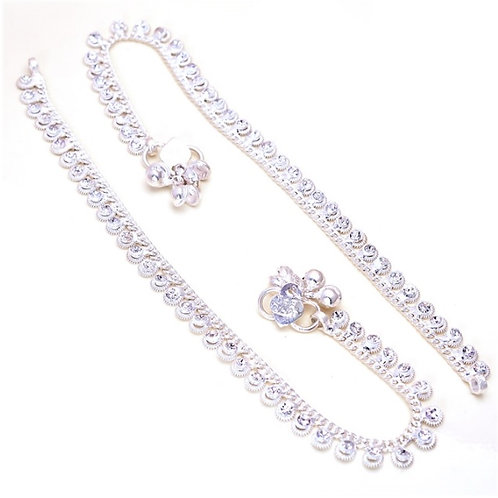 Silver Crystal Droplet Anklet