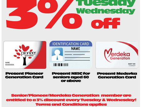 Seniors get another day of 3% discounts!