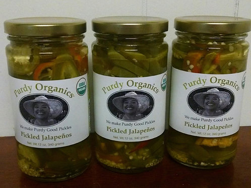 Organic Pickled Sliced Jalapenos. Pack of three 12 oz Jars