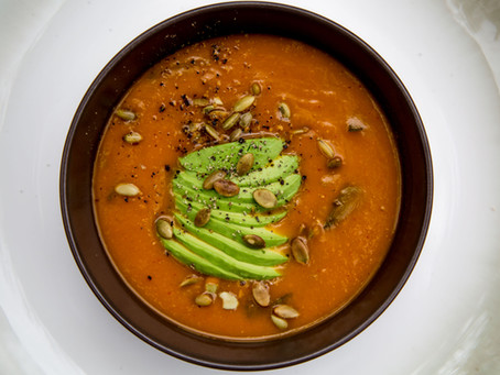Butternut Squash, Celery, and Red Bell Pepper Soup with Avocado and Pumpkin Seeds