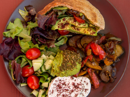 Mediterranean Pita Sandwich with Avocado and Homemade Hummus