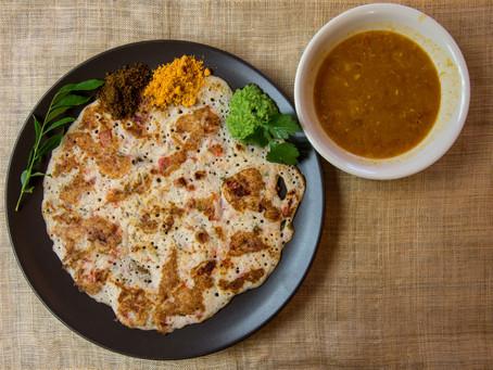 Mixed Vegetable Uttapam, Sambhar and Coconut Cilantro Chutney