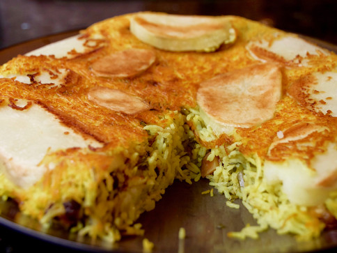Persian Potato Chickpea Rice and Tahdig