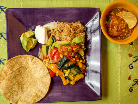 Summer Vegetable Fajitas, Mango Salsa, and Cilantro Rice