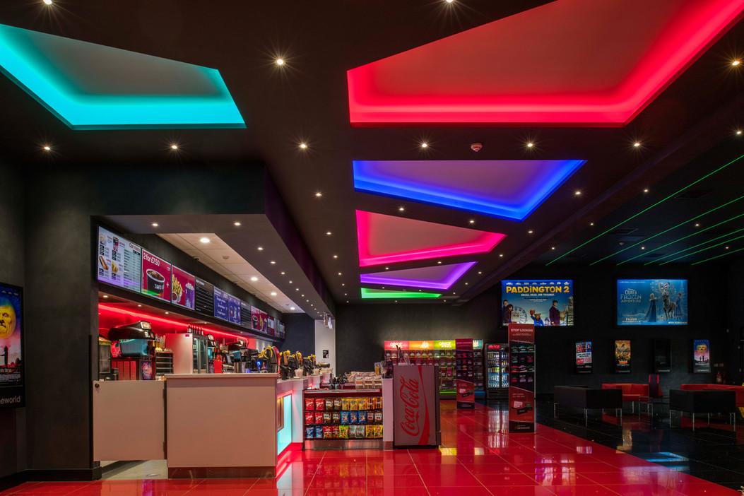 Internal photograph of a cinema foyer