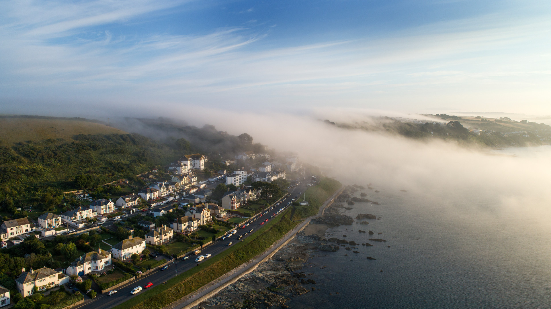 Aerial drone picture of Looe Conrwall