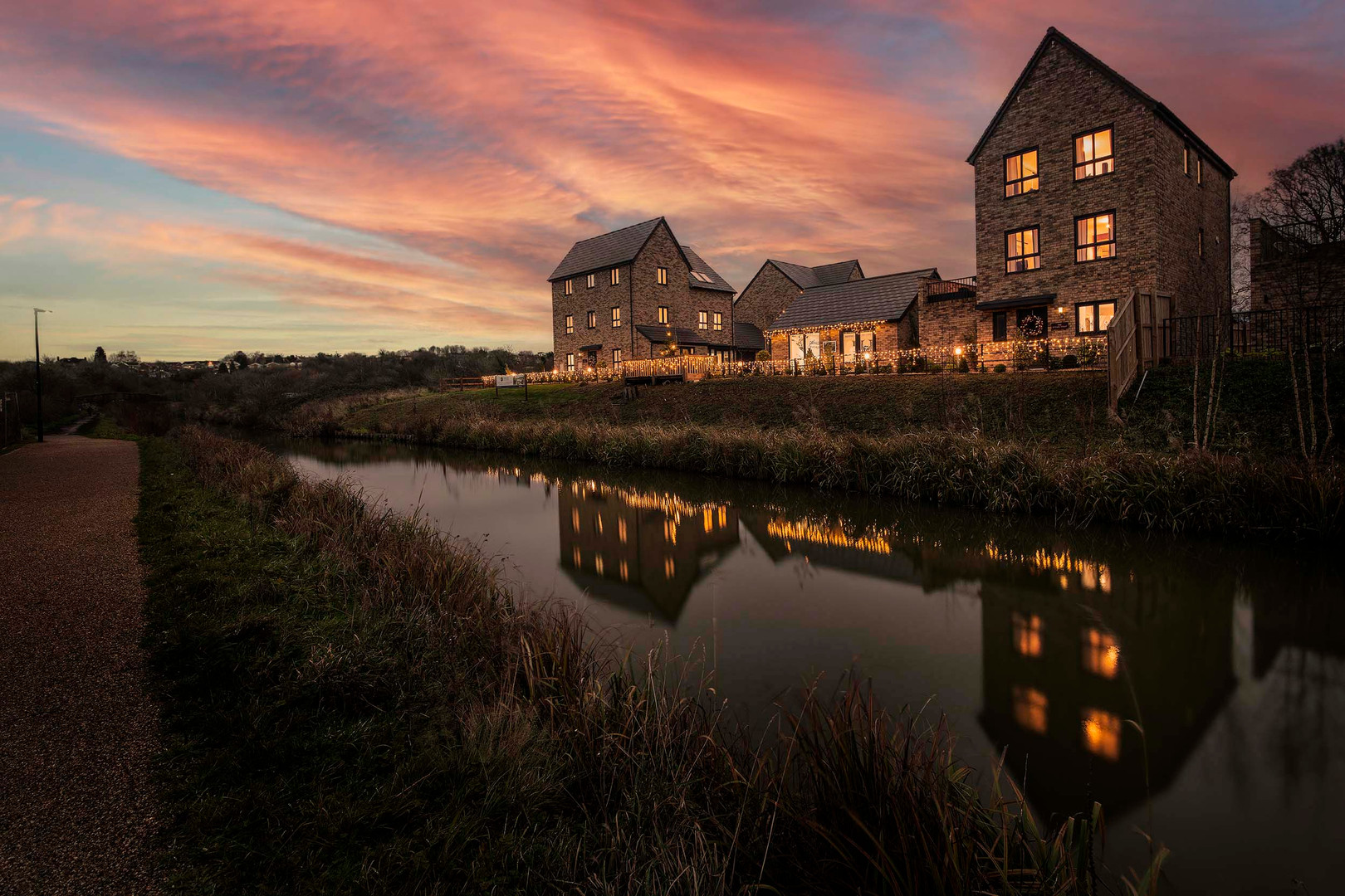 A evening architectural picture of a housing development
