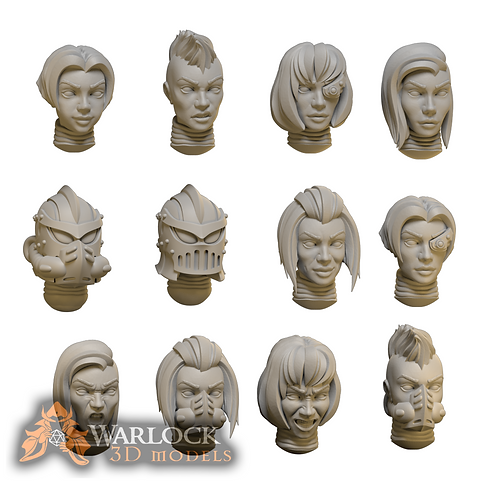 ExorSister- Scifi Female warrior Heads STL file