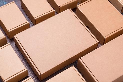 set-brown-cardboard-boxes-dark-backgroun