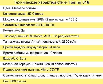 Tosing 016 основные технические характер