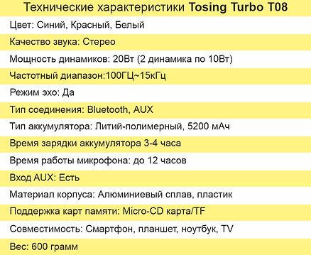 технические характеристики Tosing Turbo.
