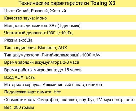 Основные технические характеристики X3.j