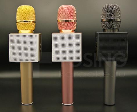 вид на динамики караоке микрофона