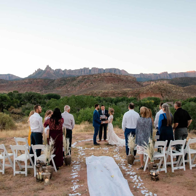 zion national park wedding ceremony at t