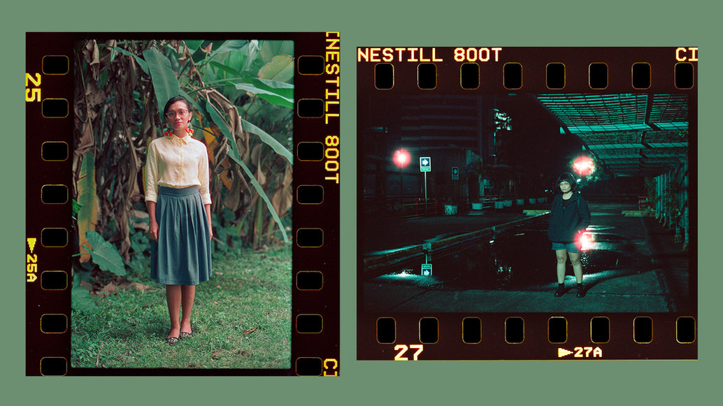 Shot fashion lookbook using analog camera.