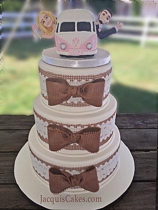Jessicas Burlap And Lace Wedding Cake