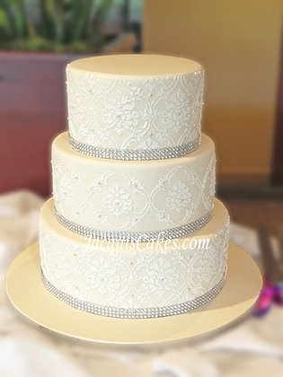 Jens Ivory And Silver Wedding Cake