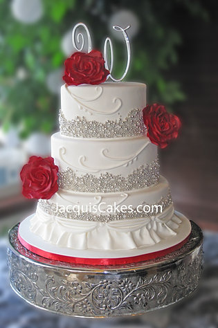 Charitys Silver And Red Weddin Cake