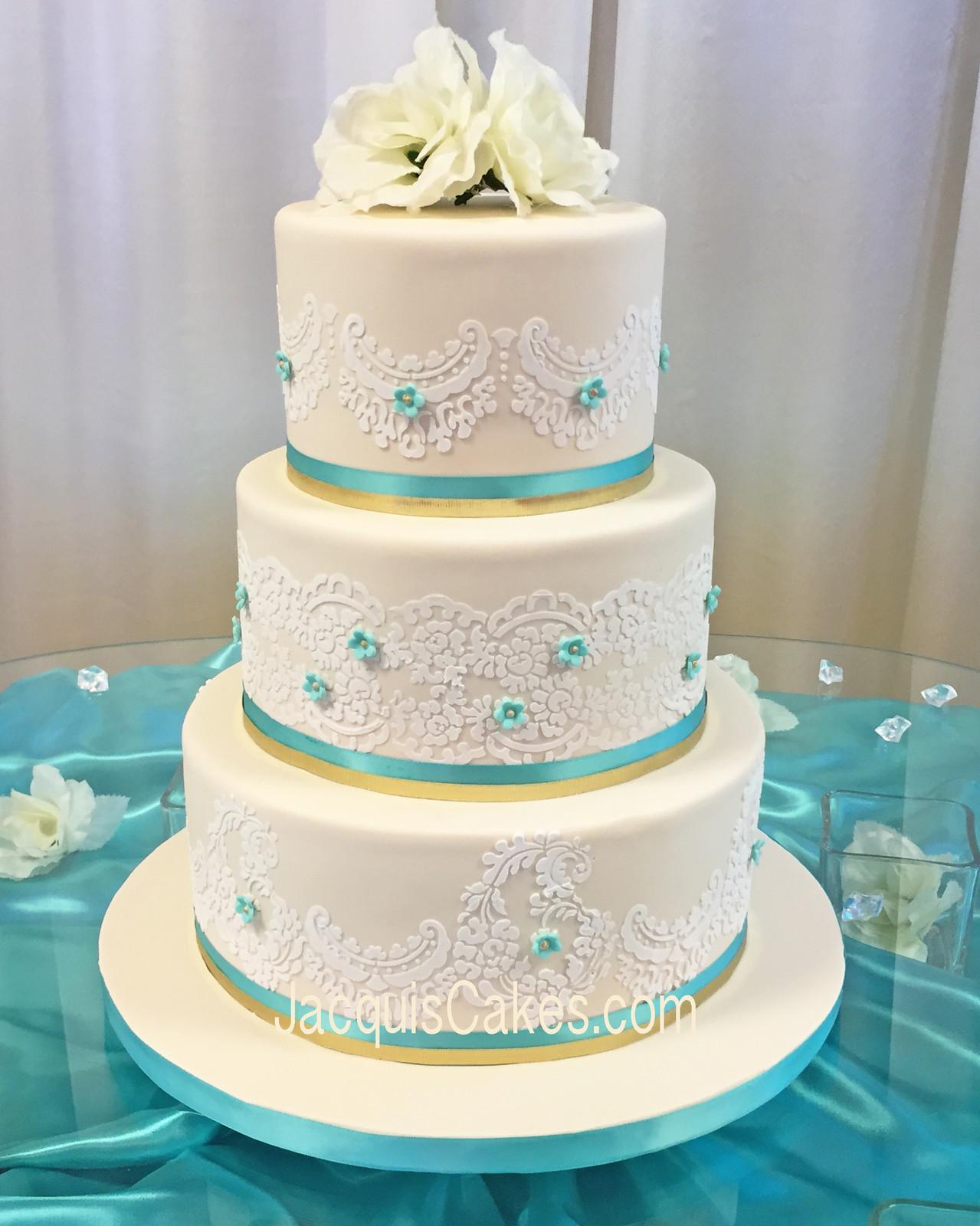 Teal And Gold Wedding Cake Leyla