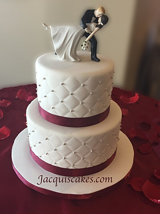 Kaitlins Red And Silver Wedding Cake