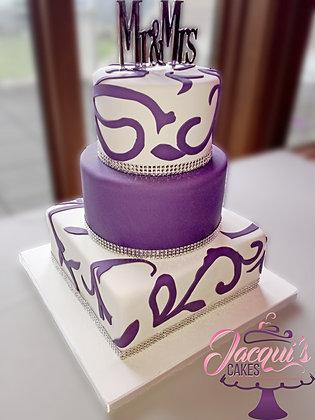 Plum And Silver Wedding Cake