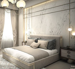 #wallpanels by #ineditomilano made of Calacatta #marble. Bed model - Woody. Downtown collection desi