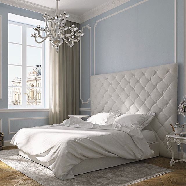 AMALIA. Upholstered bed with tufted headboard. Fabric or leather cover