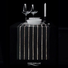 Have your #dinner #instyle.jpgew collection of #ledttableclothes from #dreamlux. Striped black warm light runner. Fast shipping from Italy.jpg