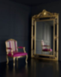 #Wallmirror model Bella #handmade #curved #woodenframe. #Upholsteredchair with #curvedback, #singles