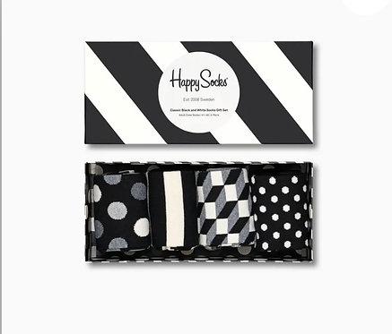 Classic Black And White Socks Gift Box 4-Pack man