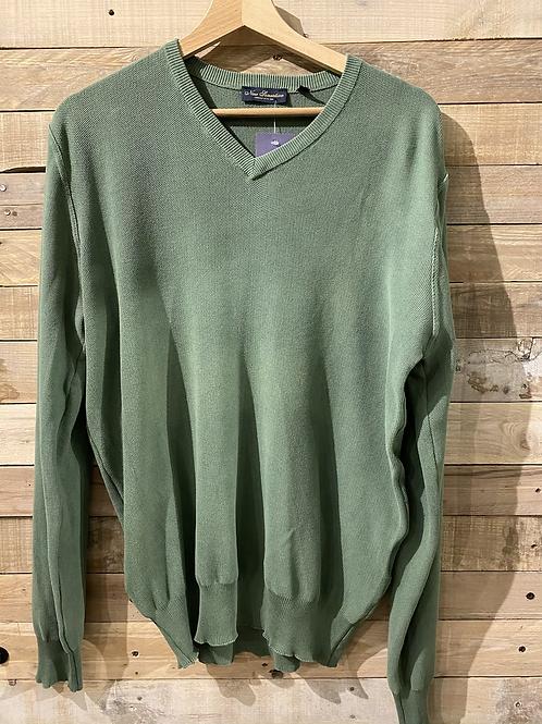 Maglione verde in cotone collo a V