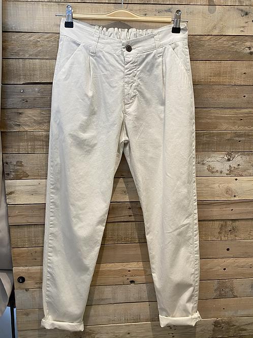 Pantalone in cotone panna con elastico