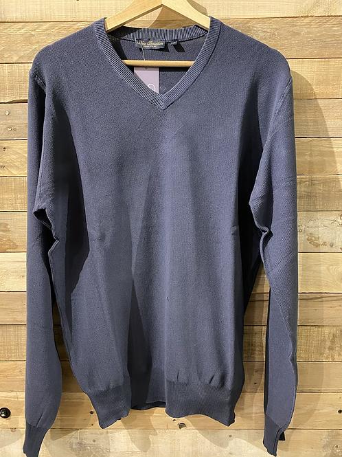 Maglione blu in cotone collo a V